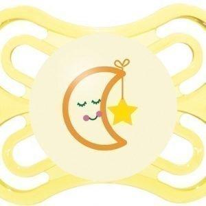 MAM Tutti + Sterilointirasia Perfect Night 0-6m Silikoni Keltainen Kuu