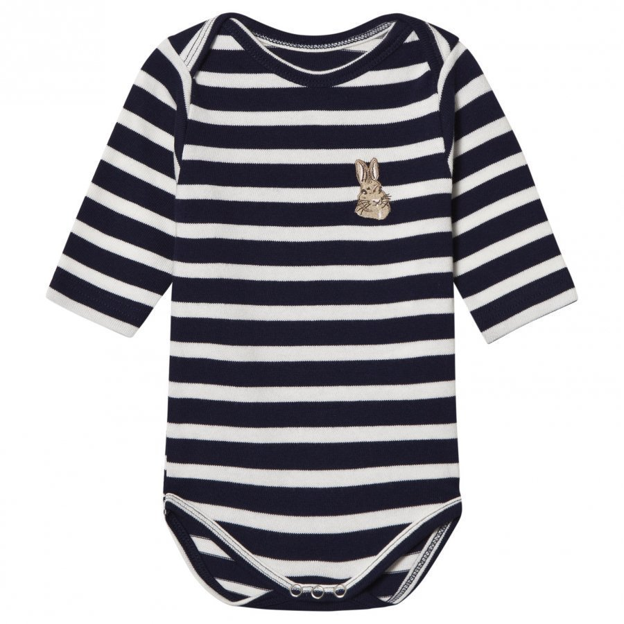 Maison Labiche Bunny Embroidered Baby Body Navy Body