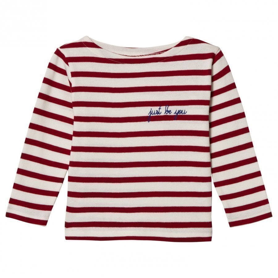 Maison Labiche Just Be You Embroidered Long Sleeve Tee Red White Pitkähihainen T-Paita