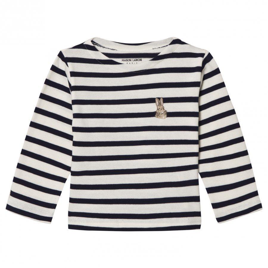 Maison Labiche Navy Bunny Embroidered Stripe Long Sleeve Tee Pitkähihainen T-Paita
