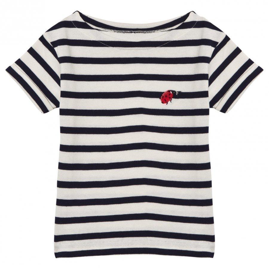 Maison Labiche Navy Ladybird Embroidered Tee T-Paita