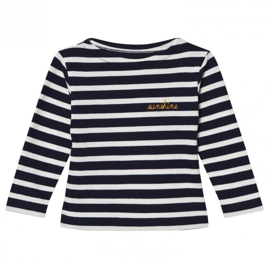 Maison Labiche Navy Sunshine Embroidered Stripe Long Sleeve Tee Pitkähihainen T-Paita