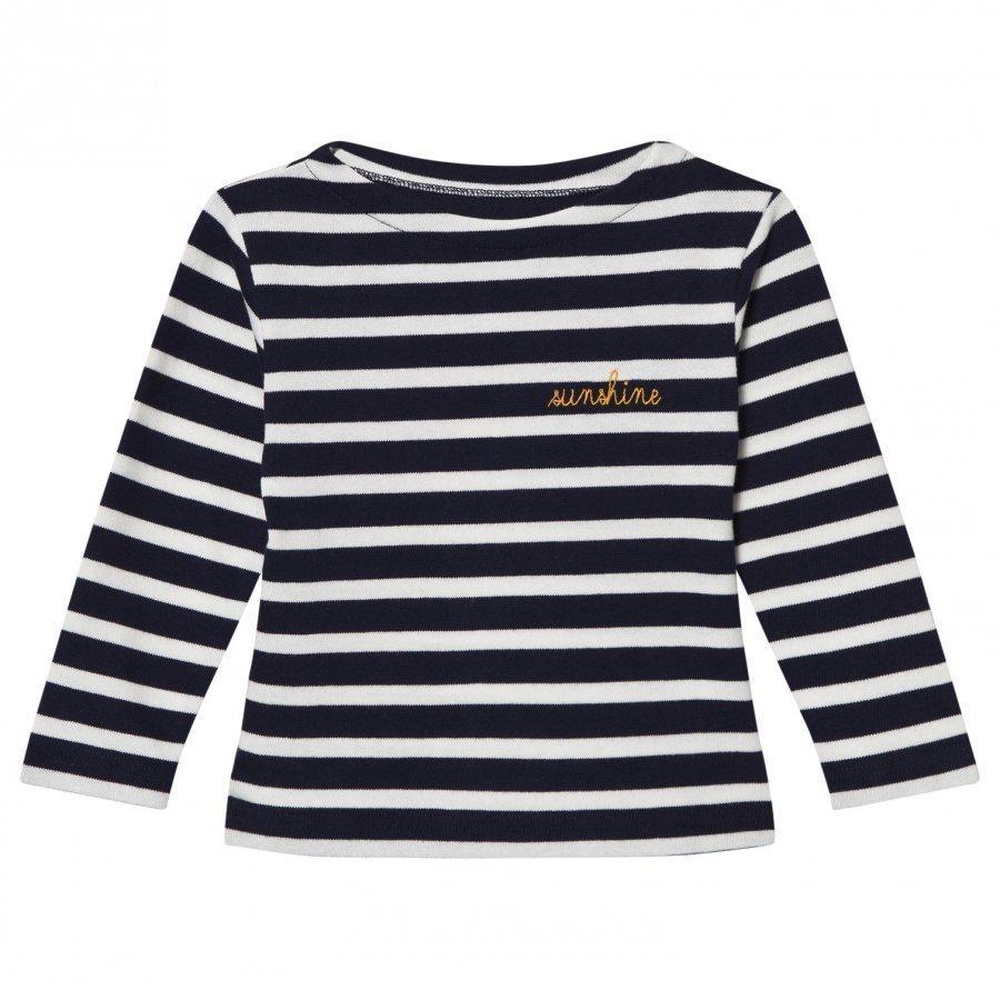 Maison Labiche Navy Sunshine Embroidered Stripe Long Sleeve Tee Pitkähihainen T-Paita