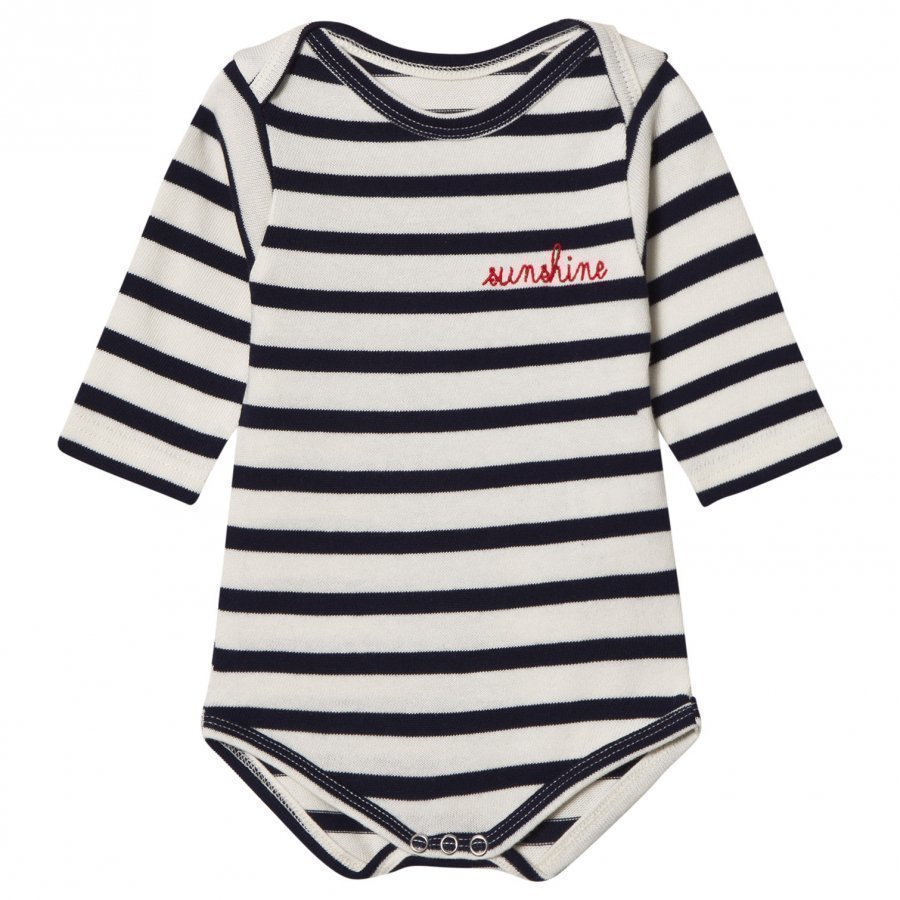 Maison Labiche Sunshine Embroidered Baby Body Navy Stripe Body