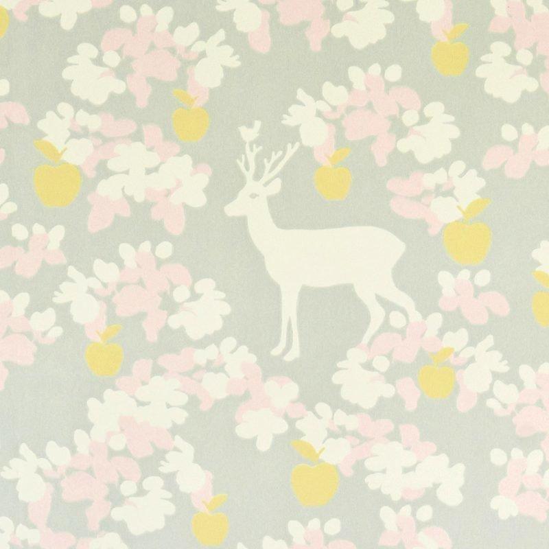 Majvillan Tapetti Apple garden harmaa/keltainen/valkoinen