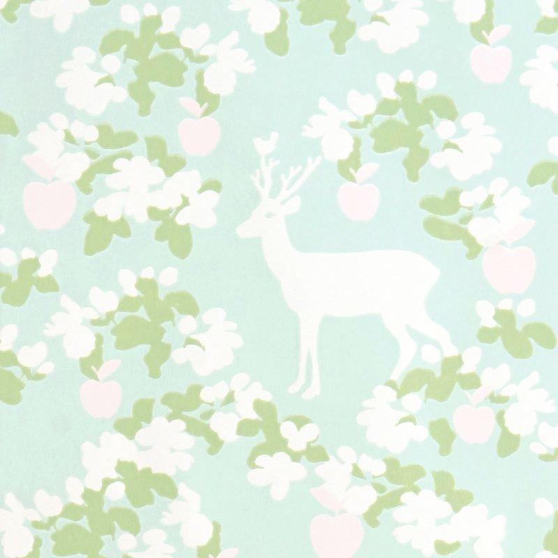 Majvillan Tapetti Apple garden turkoosi/vihreä/vaaleanpunainen