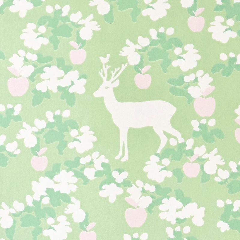 Majvillan Tapetti Apple garden vihreä/vaaleanpunainen/valkoinen