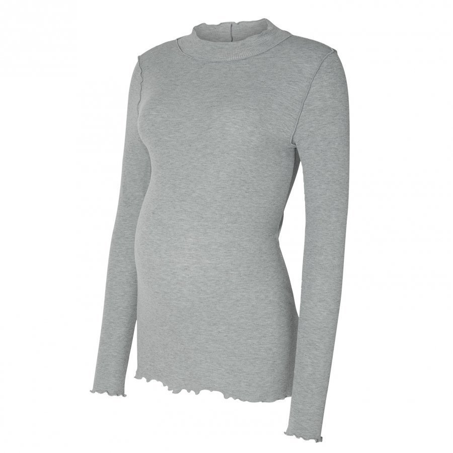 Mamalicious Missy Jersey Maternity Top Light Grey T-Paita Äidille