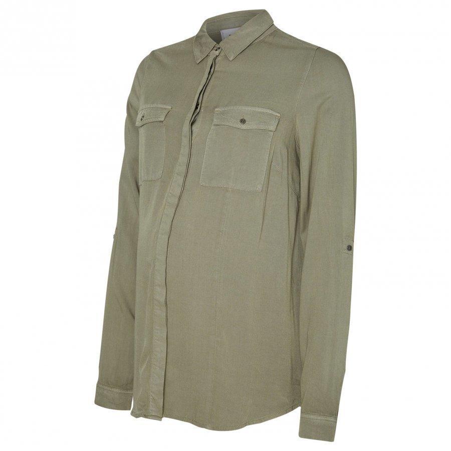 Mamalicious Woven Military Shirt Vetiver Paita Äidille
