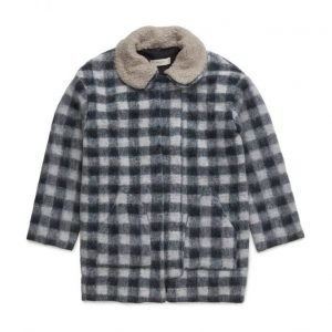 Mango Kids Checked Mohair-Blend Coat