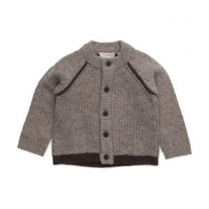 Mango Kids Contrasting Wool-Blend Cardigan