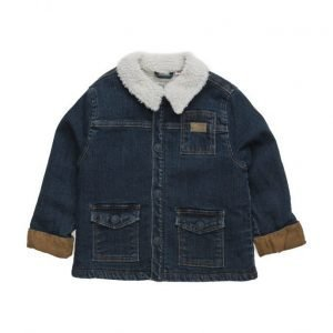 Mango Kids Faux Shearling-Lined Denim Jacket