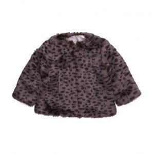 Mango Kids Leopard Faux-Fur Coat