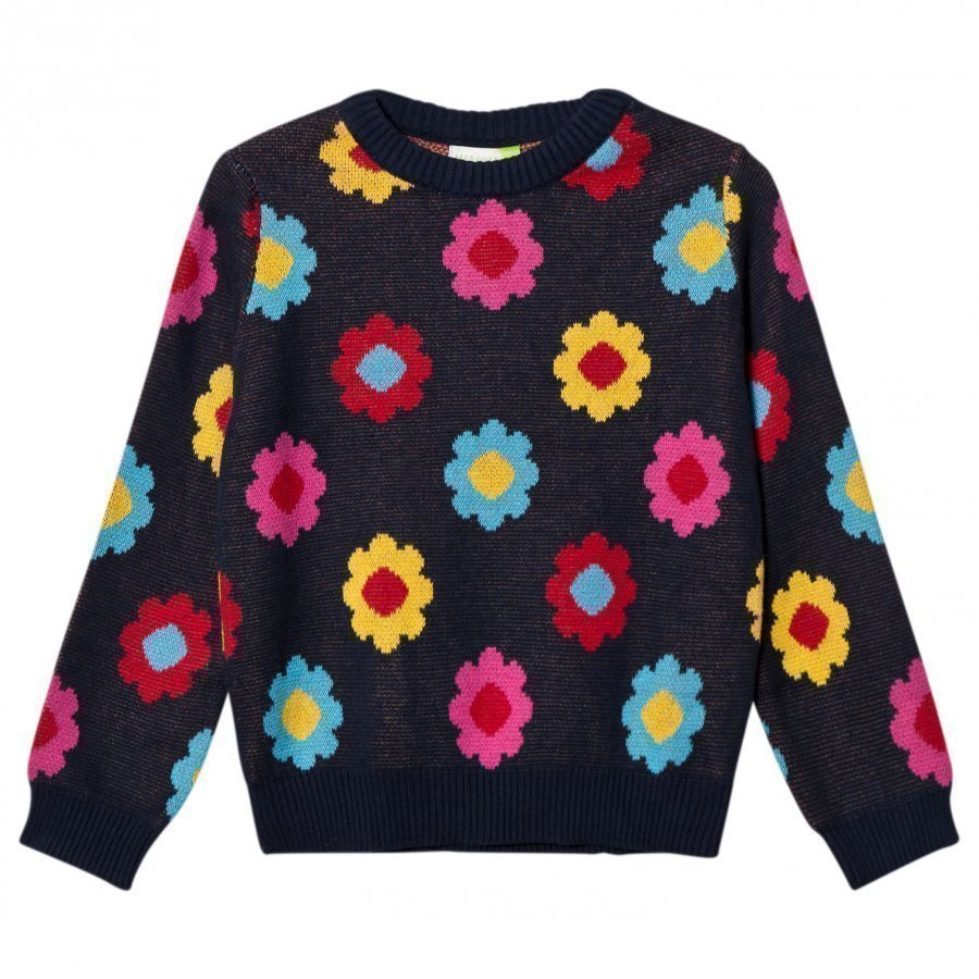 Margherita Kids Black Multi Daisy Double Knit Sweater Paita