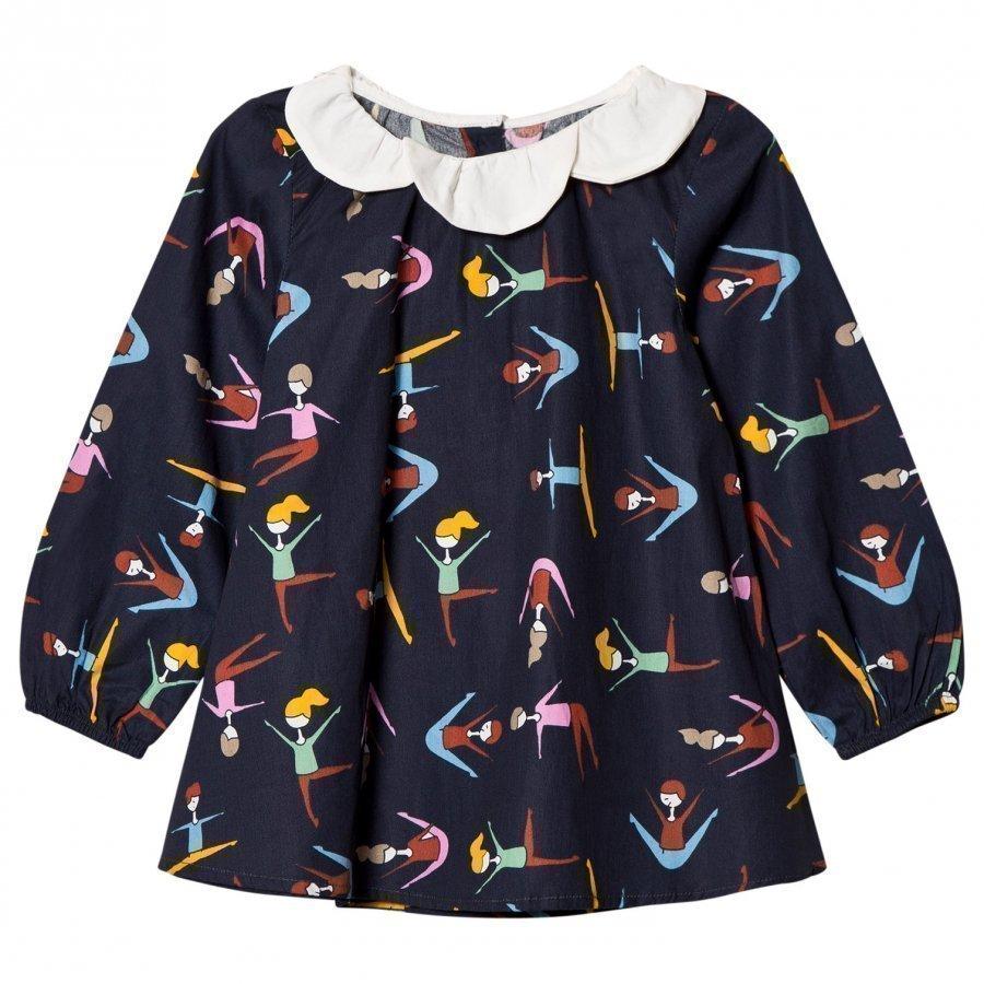 Margherita Kids Black Multi Stretching Print Daisy Collar Top Pitkähihainen T-Paita