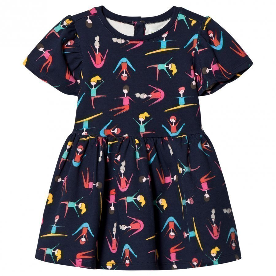Margherita Kids Black Multi Stretching Print Dress Mekko
