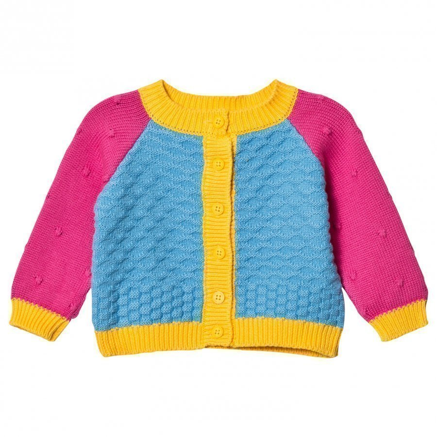 Margherita Kids Blue Multi Color Block Cardigan Neuletakki