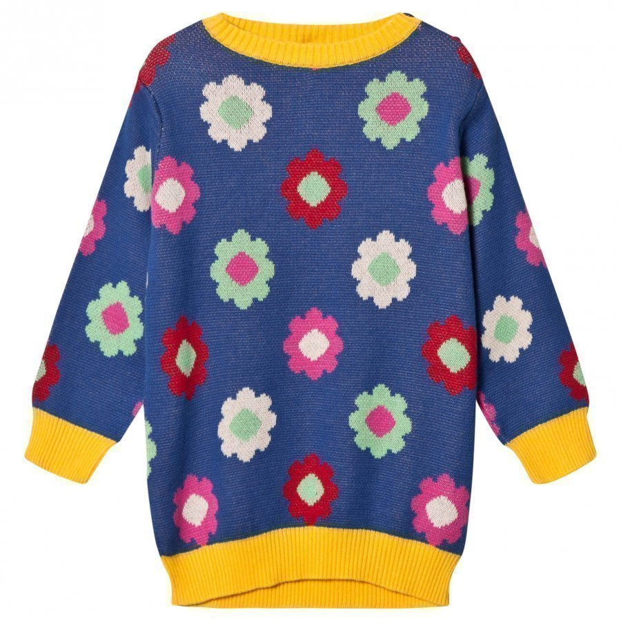 Margherita Kids Blue Multi Daisy Double Knit Dress Mekko