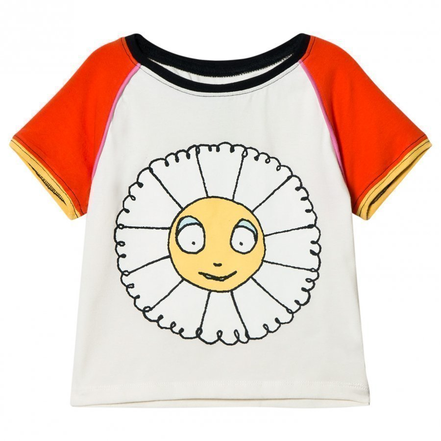 Margherita Kids Cream Multi Daisy Ringer Tee Print With Flocking T-Paita