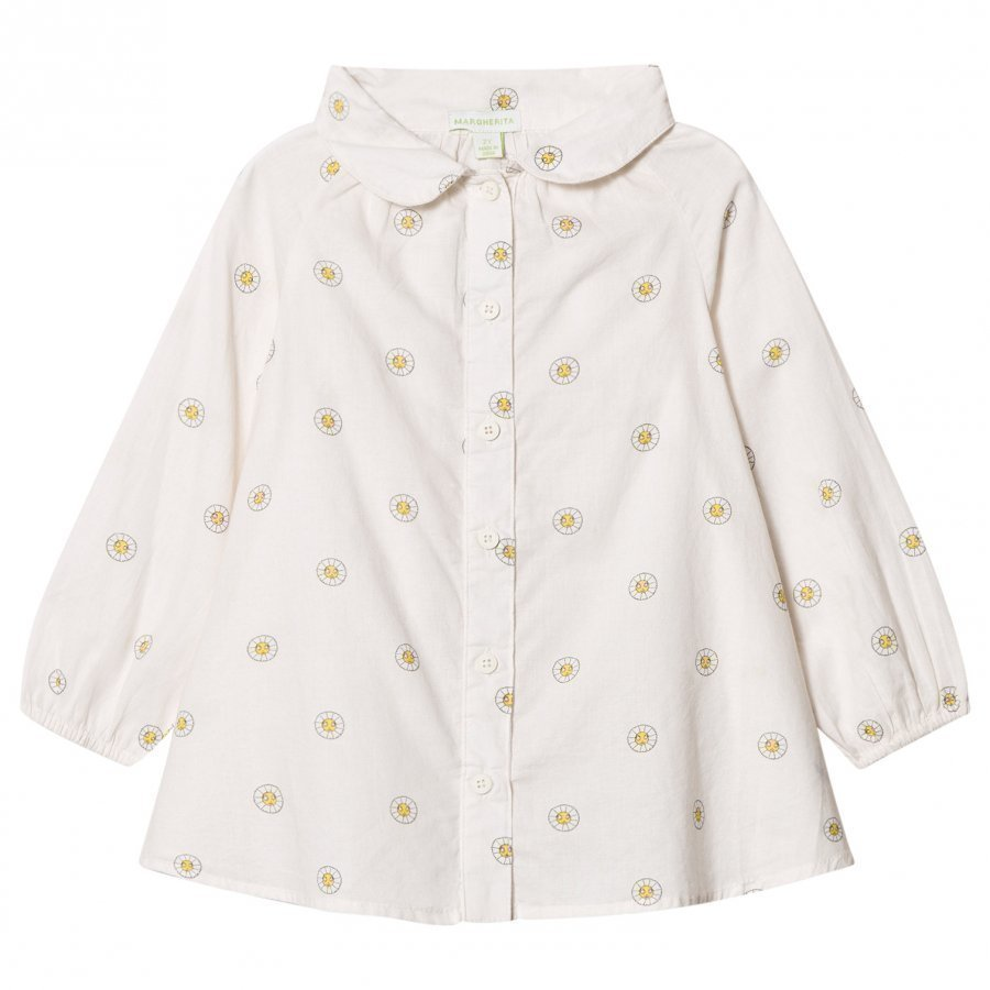 Margherita Kids Cream Printed Daisy Logo Smock Shirt Kauluspaita