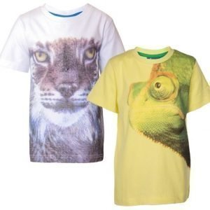 Max Collection 2 kpl T-paita painatuksella Yellow/White