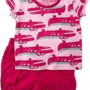 Max Collection T-paita ja shortsit Pink/cerise