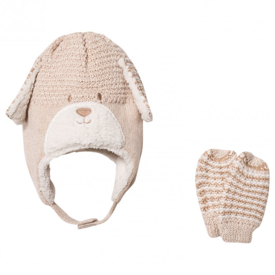 Mayoral Beige Bear Hat And Mittens Set Hattu Huivi Ja Hanskat Setti