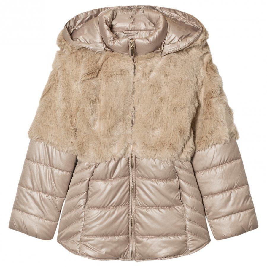 Mayoral Beige Faux Fur Puffer Coat Turkis