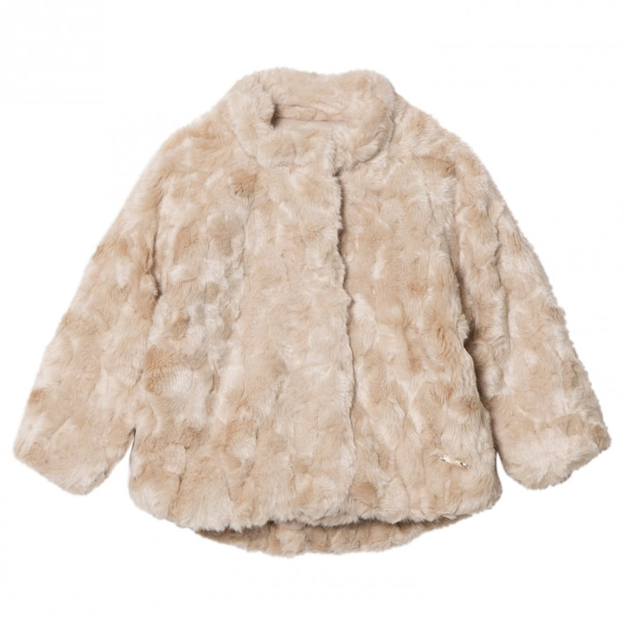 Mayoral Beige Textured Faux Fur Coat Turkis