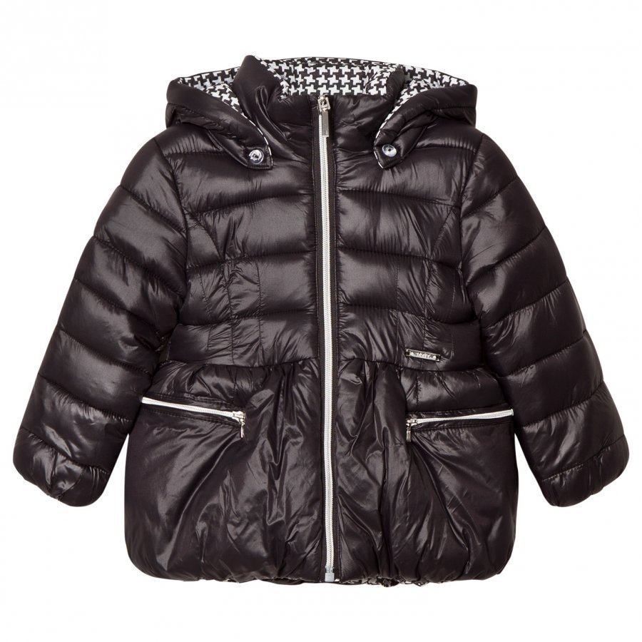 Mayoral Black And White Houndstooth Reversible Black Padded Coat Toppatakki