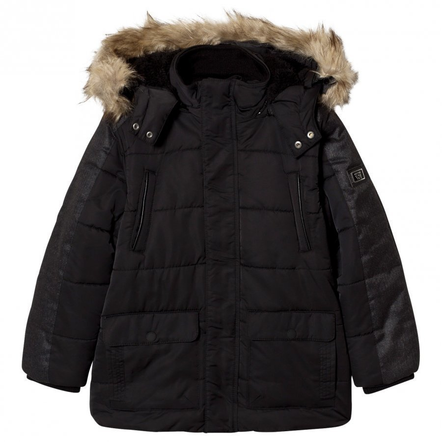 Mayoral Black Padded Parka With Faux Fur Hood Parkatakki