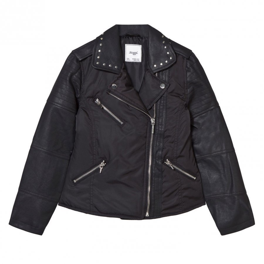 Mayoral Black Pleather And Nylon Biker Studded Jacket Biker Takki