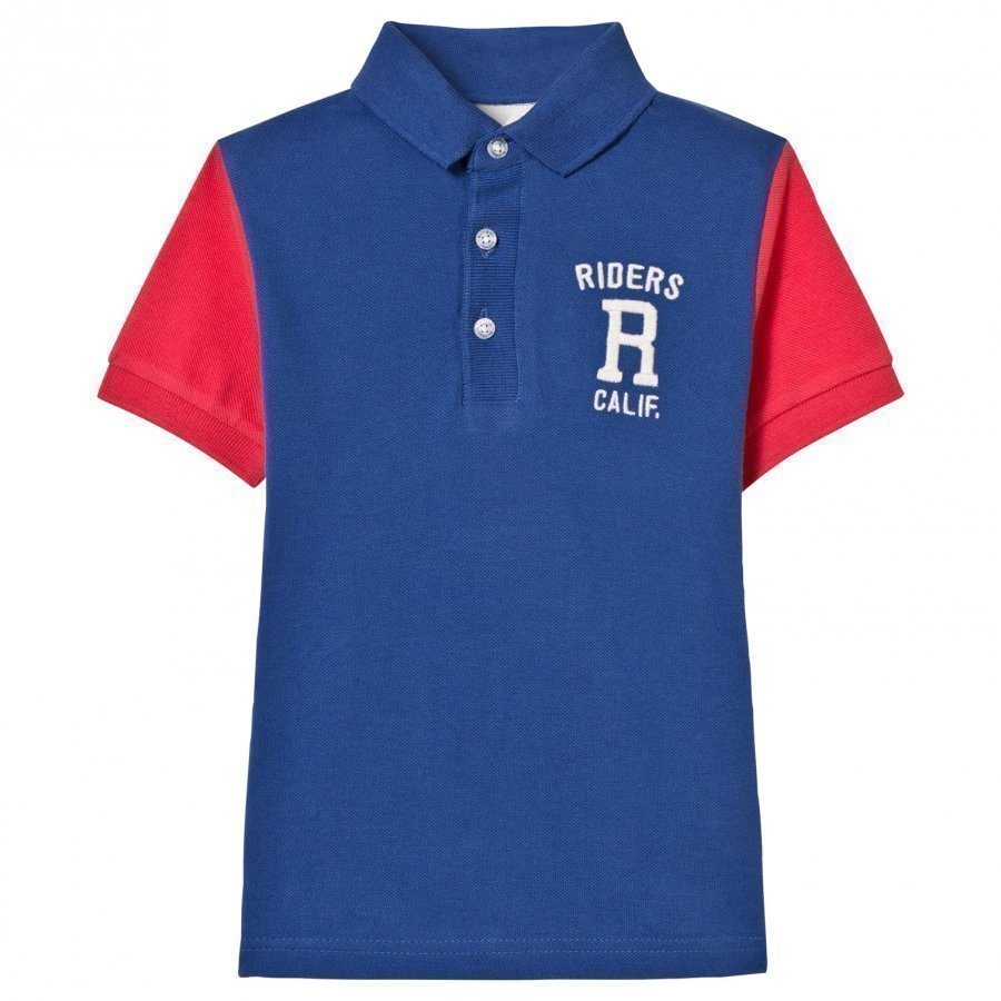 Mayoral Blue And Coral Embroidered Polo Pikeepaita