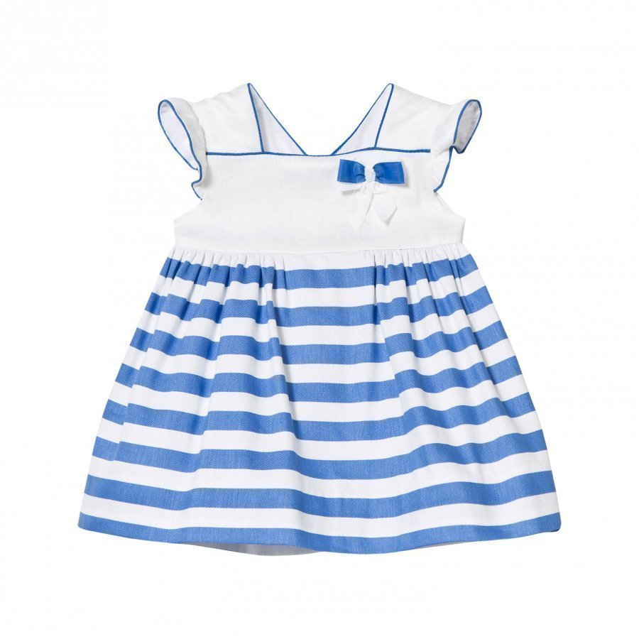 Mayoral Blue And White Stripe Dress With Bow Detail Juhlamekko