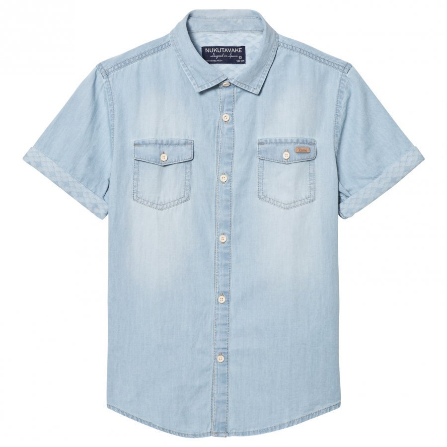 Mayoral Blue Light Wash Denim Short Sleeve Shirt Kauluspaita