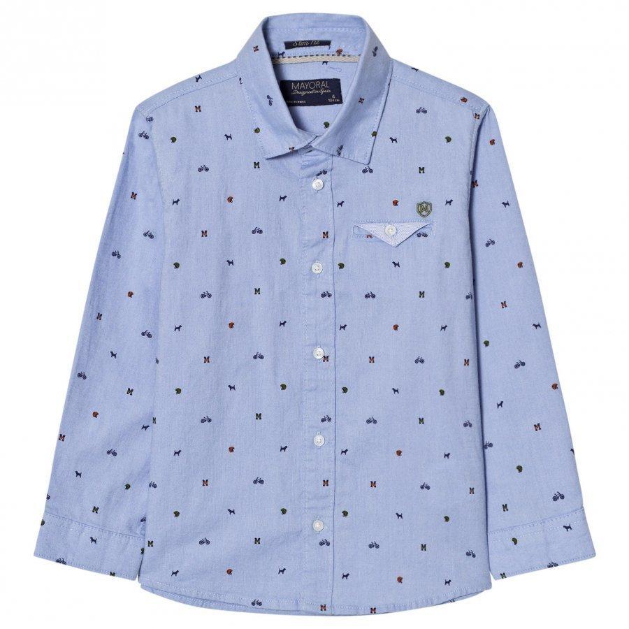 Mayoral Blue Printed Long Sleeve Shirt Kauluspaita