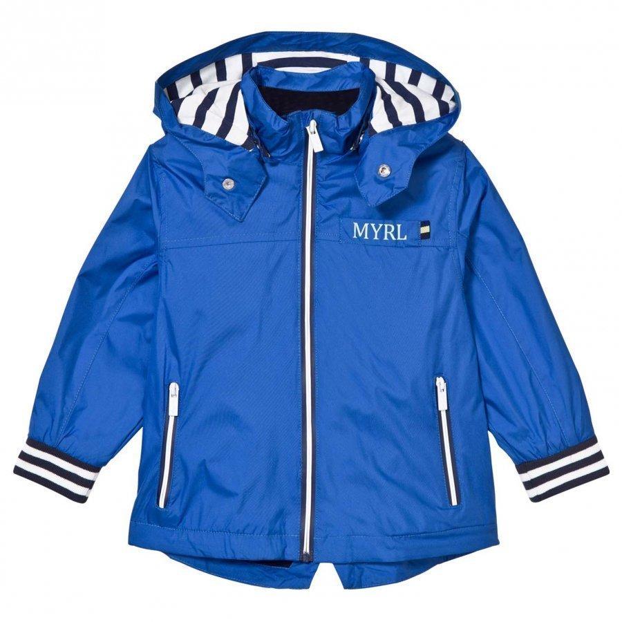 Mayoral Blue Stripe Trim Jacket With Detachable Hood Tuulitakki