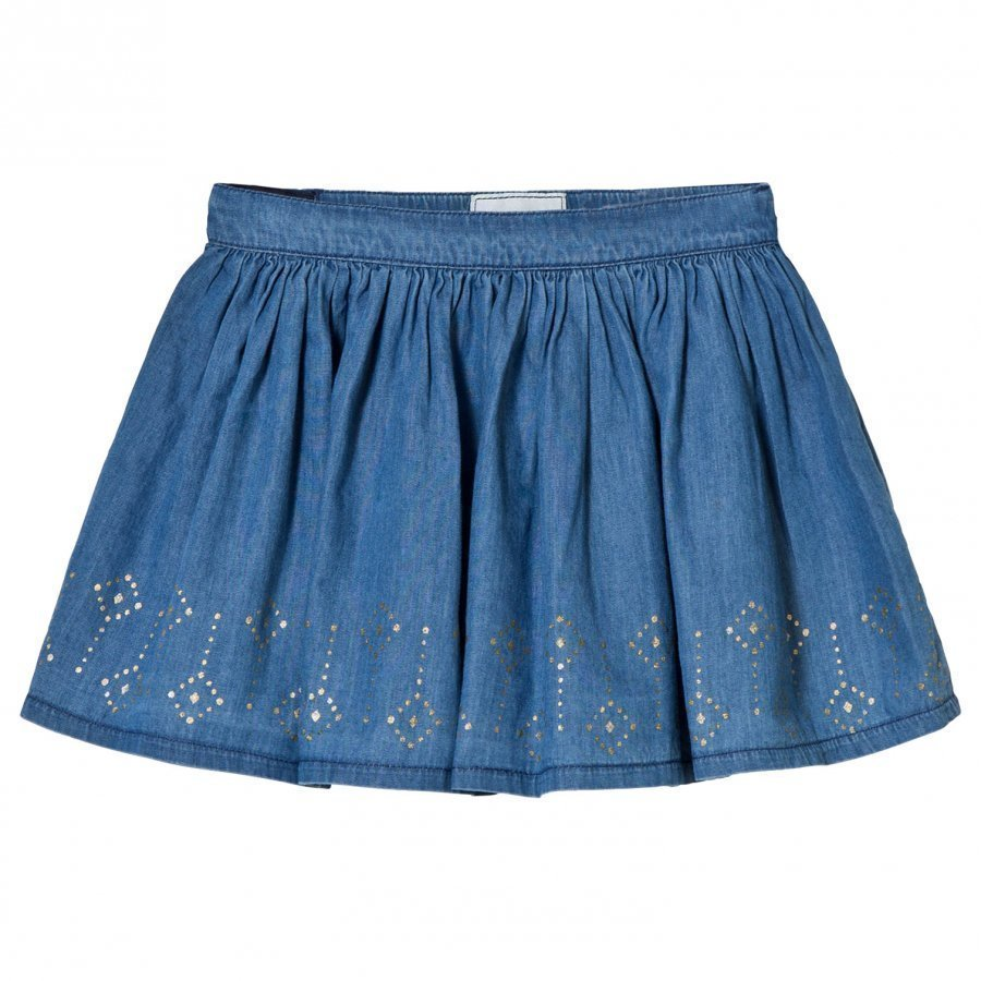 Mayoral Chambray Jersey Studded Skirt Lyhyt Hame