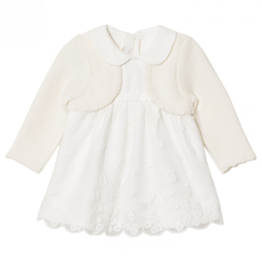 Mayoral Cream Embroidered Dress With Attached Cardigan Asusetti