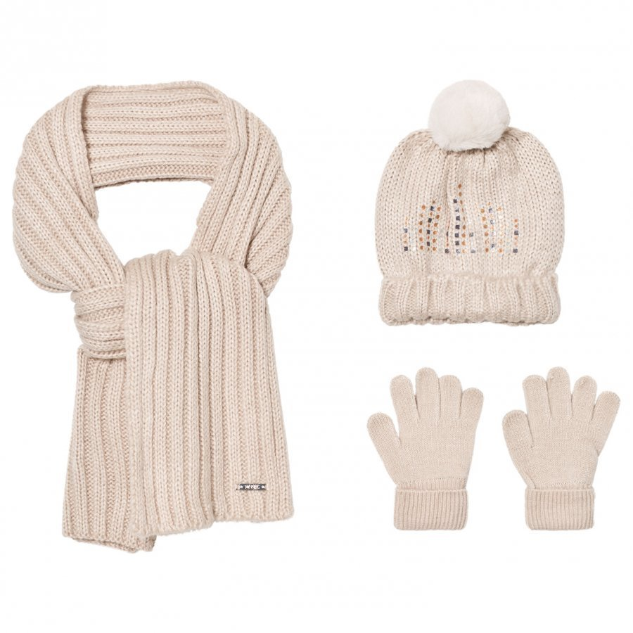 Mayoral Cream Knitted Pom Pom Hat Scarf And Mittens Set Hattu Huivi Ja Hanskat Setti