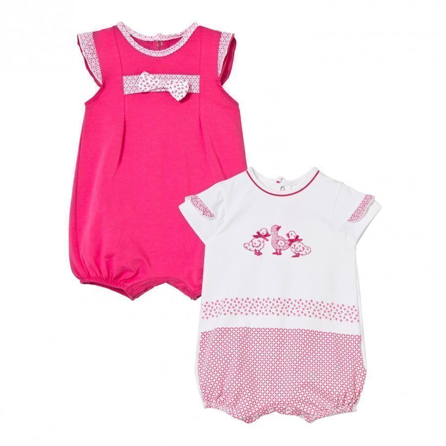 Mayoral Fuchsia And Duck Embroidered Romper 2-Pack Romper Puku