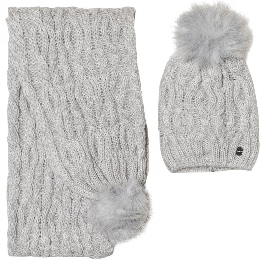 Mayoral Grey Chunky Knit Pom Pom Hat And Scarf Set Hattu Huivi Ja Hanskat Setti