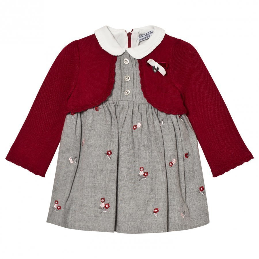 Mayoral Grey Embroidered Red Bolero Dress Asusetti