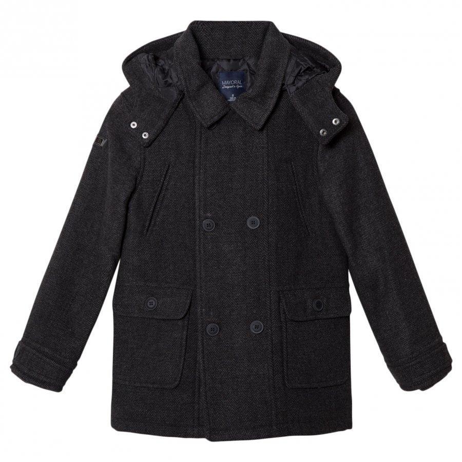 Mayoral Grey Flannel Hooded Coat Talvitakki