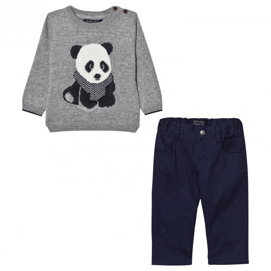 Mayoral Grey Panda Jumper And Trousers Set Asusetti
