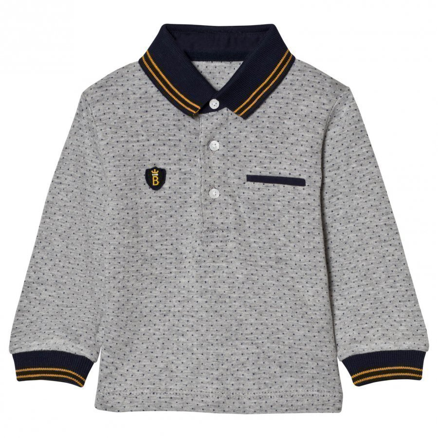 Mayoral Grey Spot Polo With Navy Cuffs Pikeepaita