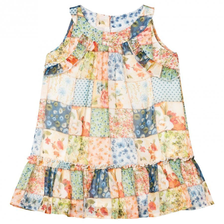 Mayoral Multi Floral Patchwork Frill Drop Waist Dress Juhlamekko
