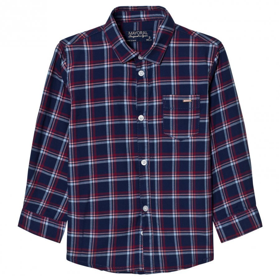 Mayoral Navy And Red Check Shirt Kauluspaita