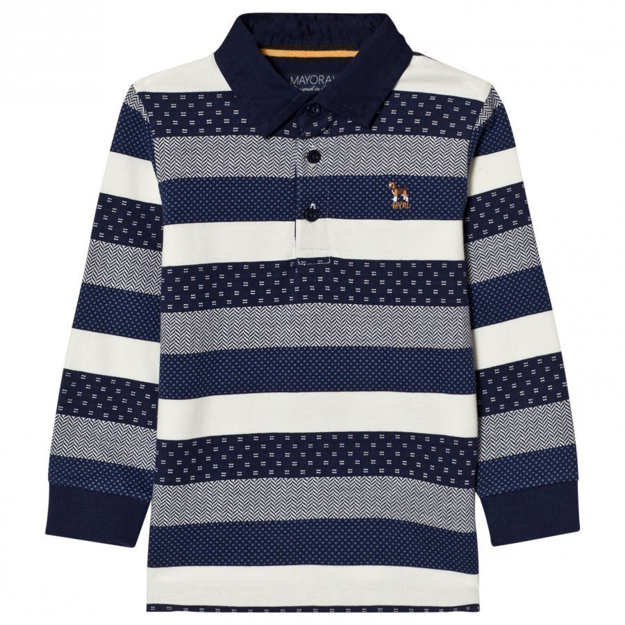 Mayoral Navy And White Stripe Long Sleeve Pique Polo Pikeepaita