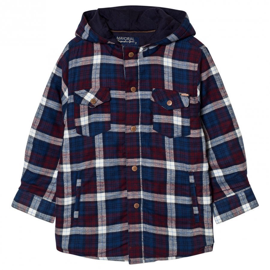 Mayoral Navy Check Padded Hooded Shacket Huppari